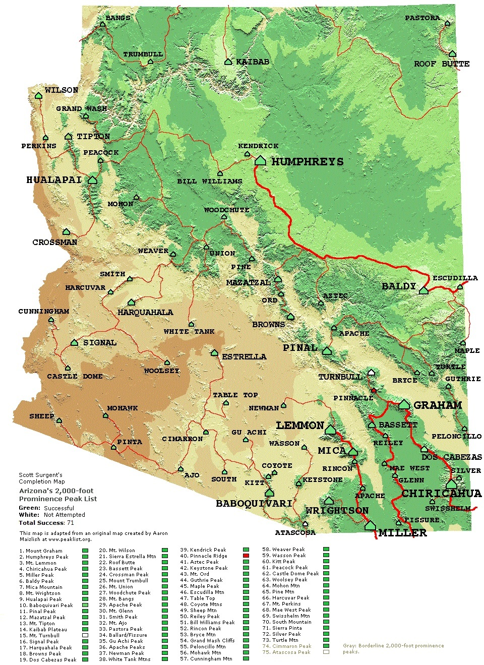 Map Of South Arizona.Arizona Peaks 1 000 Feet Of Prominence And Higher Www Surgent Net